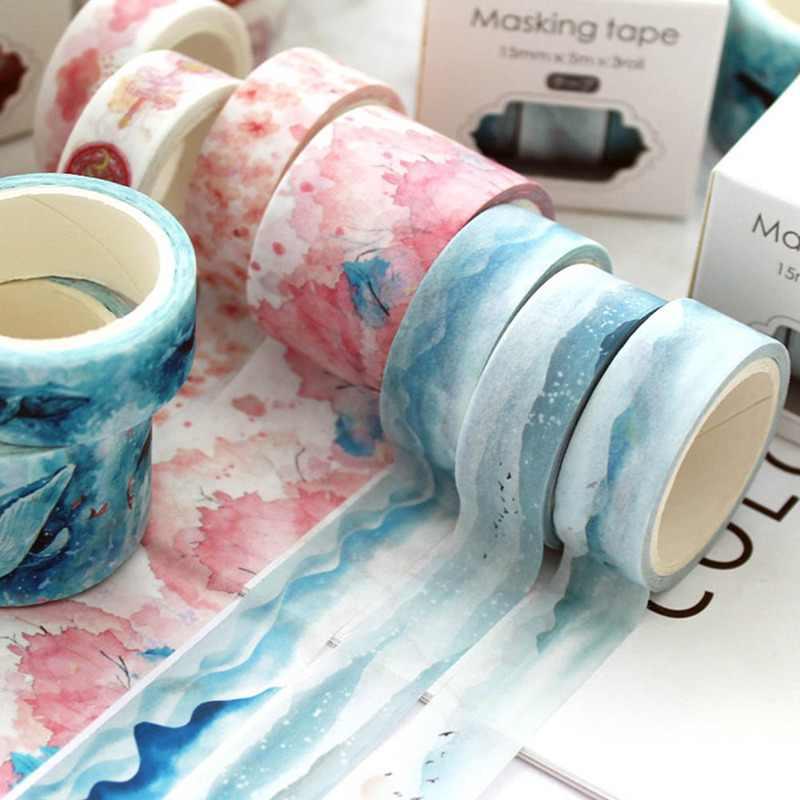 3 cái/bộ Cô Gái Tuổi Teen Tim Theme Giấy Mặt Nạ Băng Trang Trí Washi Băng DIY Scrapbooking Nhật Ký Sticker Trường Nguồn Cung Cấp