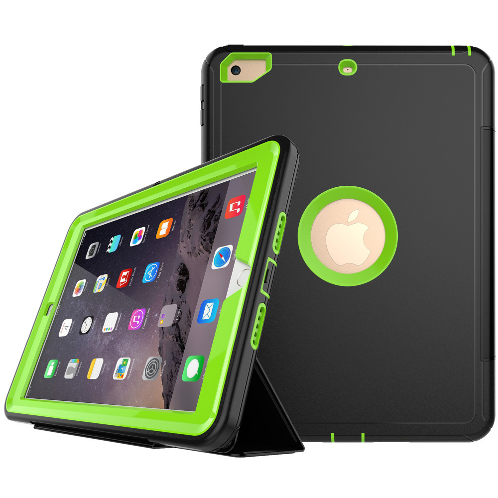 New 360 Full protection Case For ipad 9.7 2018 A1893 / 9.7 2017 Kids Safe Shockproof Heavy Duty Silicon TPU Hard Cover kickstand