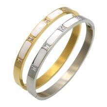 Fashion White Shell Bracelet for Women Titanium Steel Gold Bangles Cubic Zirconia Female Crystal Jewelry цена в Москве и Питере