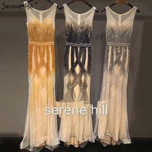 Image 5 - Dubai Latest Design Blue Gold Sleeveless Evening Dresses 2020 Beading Sequined Luxury Evening Dress Long Real Photo LA60783