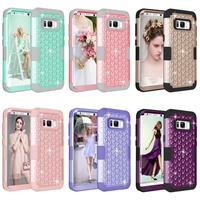 For Samsung Galaxy S8 Case Rhinestone Bling Shockproof Silicone Armor Phone Case For Samsung Galaxy S8