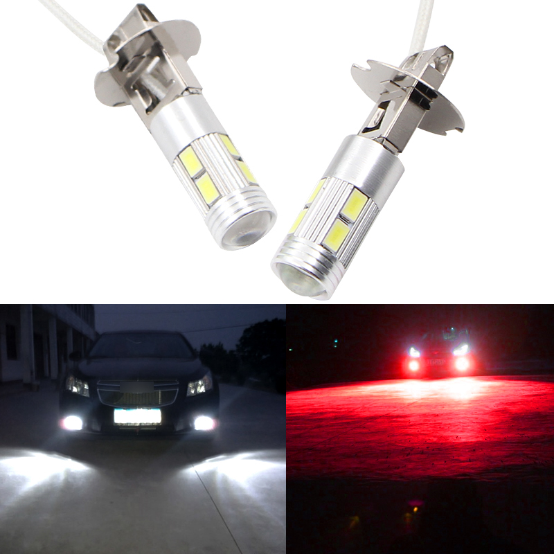 2pcs H3 10 Led Bulb Car Fog Lights High Power Lamp 5630 SMD Car Running Lights Lamp CANBUS 12V 6000K Car Accessories