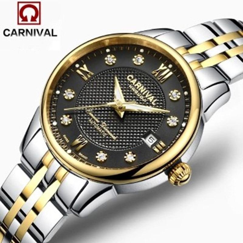 2016 Rhinestone dress automatic mechanical fashion brand watch womens casual luxury full steel luminous sapphire watches