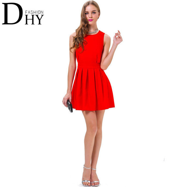 Aliexpress.com : Buy 2015 Summer New European Hot Red Color Dress ...