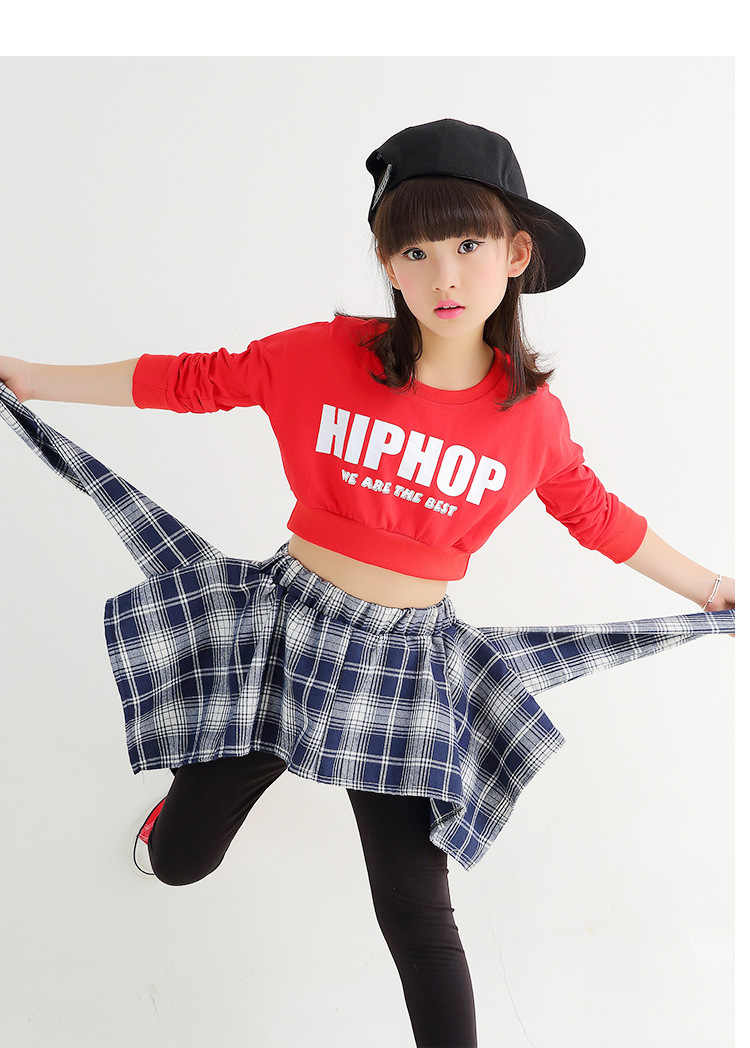 0ee08cbcced8 ... Kids Girls Hip-hop Clothing Sets Crop Top + Skirt Legging Jazz Dance  Wear Age