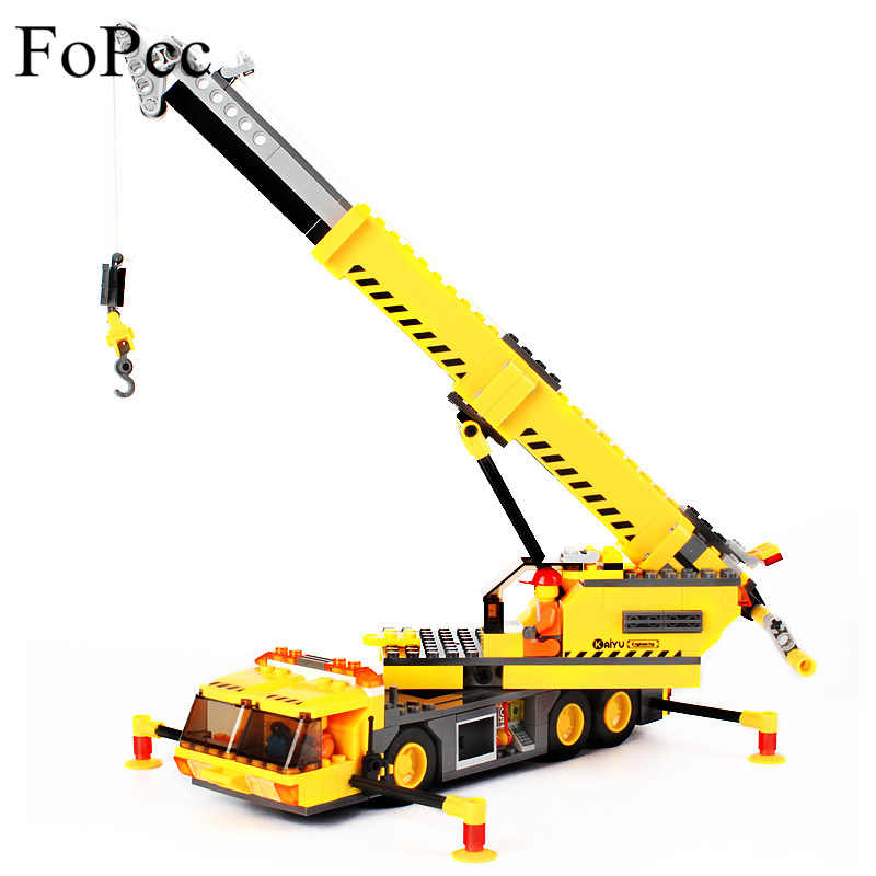 KAZI 8045 380Pcs City Technic Excavator Engineering Crane Building Block Brick Educational Toys For Children Compatible LegiNGly