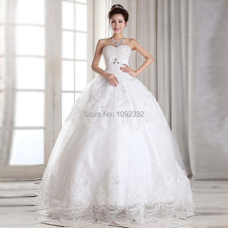 S Stock 2016 New Plus Size Women Tube Top Bridal Gown