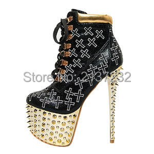 2016 new fashion Closed toe Platform with studed boots Cross-lace-up Stiletto Pumps Sky High heel with rivets boots big size15 rhythm rhythm cmj545nr06