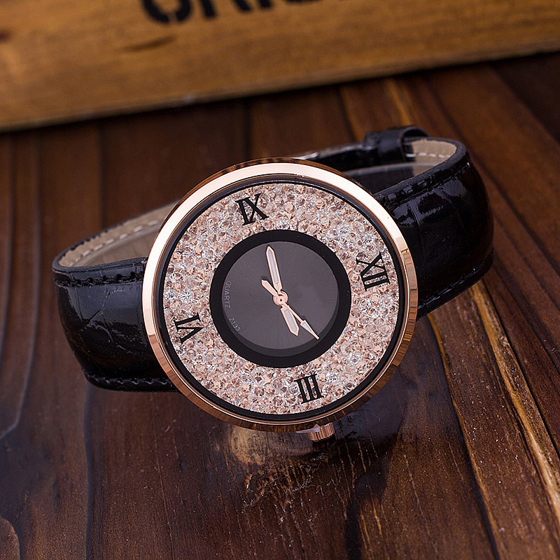 Vansvar Brand Fashion Women Rhinestone Watches Luxury Leather Women Dress Watch Casual Quartz Watches Relogio Feminino 613 8