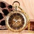Винтаж Роскошные Золотые Цепи Кулон Изысканный Ручной Ветер Механические Карманные Часы Классический Римскими Цифрами Открытым Лицом Подарок Для Мужчин Женщин