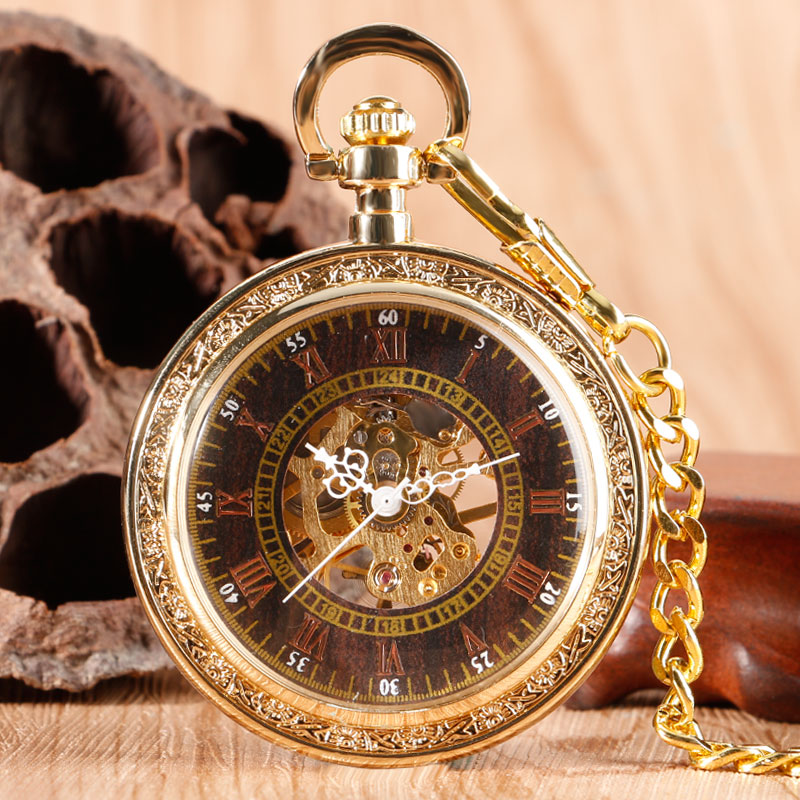 Vintage Luxury Gold Chain Pendant Exquisite Hand Wind Mechanical Pocket Watch Classic Roman Numbers Open Face Gift For Men Women vintage transparent skeleton open face mechanical pocket watch men women fashion silver hand wind watch chain pendant gift