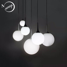 Loft simple milk white glass ball pendant light LED E27 modern hanging lamp with 6 size for living room bedroom lobby hotel shop(China)
