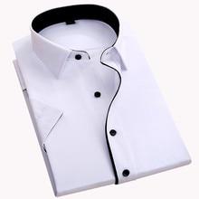 Мужская рубашка без нагрудного кармана с коротким рукавом Модная приталенная легкая в уходе черная пуговица с квадратным воротником официальная мужская одежда рубашки