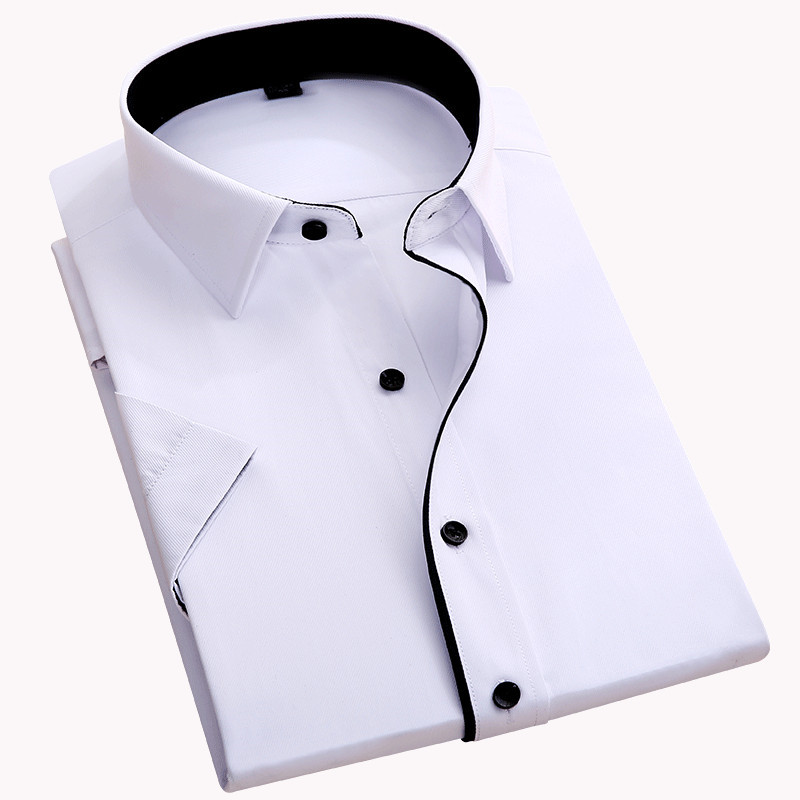 Without Chest Pocket Short Sleeve Men Shirt 2019 Fashion Slim Fit Easy Care Black Button Square Collar Formal Mens Dress Shirts