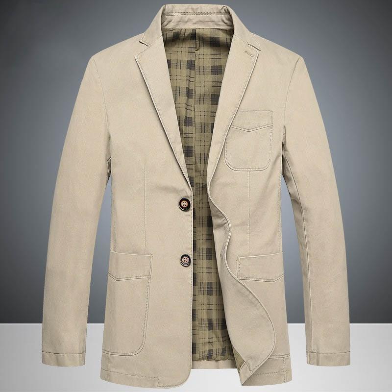 2017 Top Spring Brand Mens Causal Business Blazer Man Khaki Single-breasted Cotton Slim Suit Jacket Plus Large Size4XL