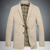 2019 Top Spring Brand Men's Causal Business Blazer Man Khaki Single breasted Cotton Slim Suit Jacket Plus Large Size4XL