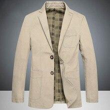 Envmenst topos primavera marca masculino causal negócios blazer masculino caqui single breasted algodão fino terno jaqueta oversize 4xl