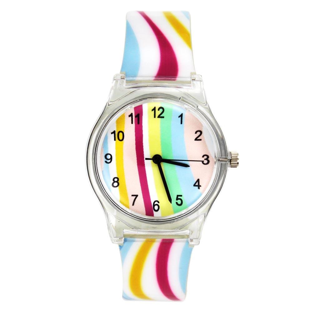 Rainbow stripe women ladies girl multicolor fashion sport rubber watch belt quartz wristwatch in for Rainbow color stripe watch