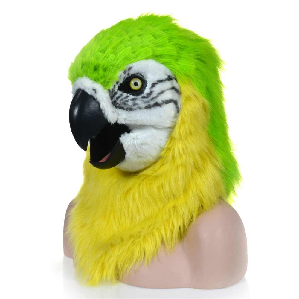 Fashion Function Mouth Moving Furry Mask Green Parrot Animal Head Mask