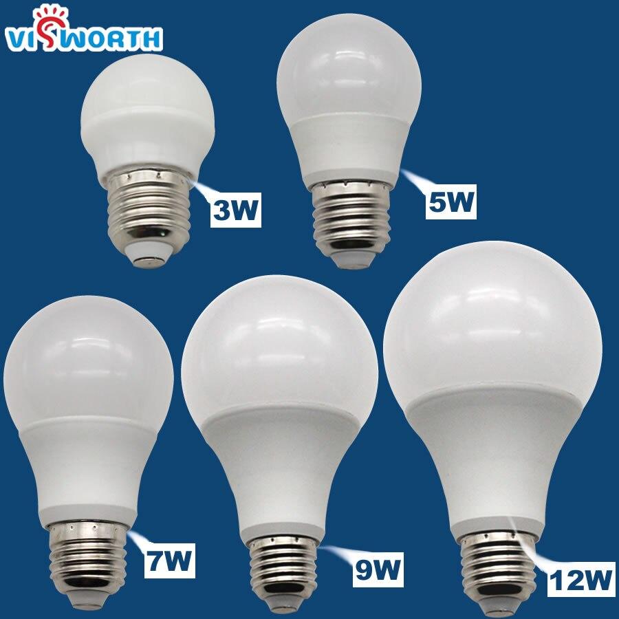 Super Brightness E27 LED Bulbs SMD2835 3W 5W 7W 9W 12W AC 110V 220V 240V A60 LED Lamps Warm Cold White Lampada Light