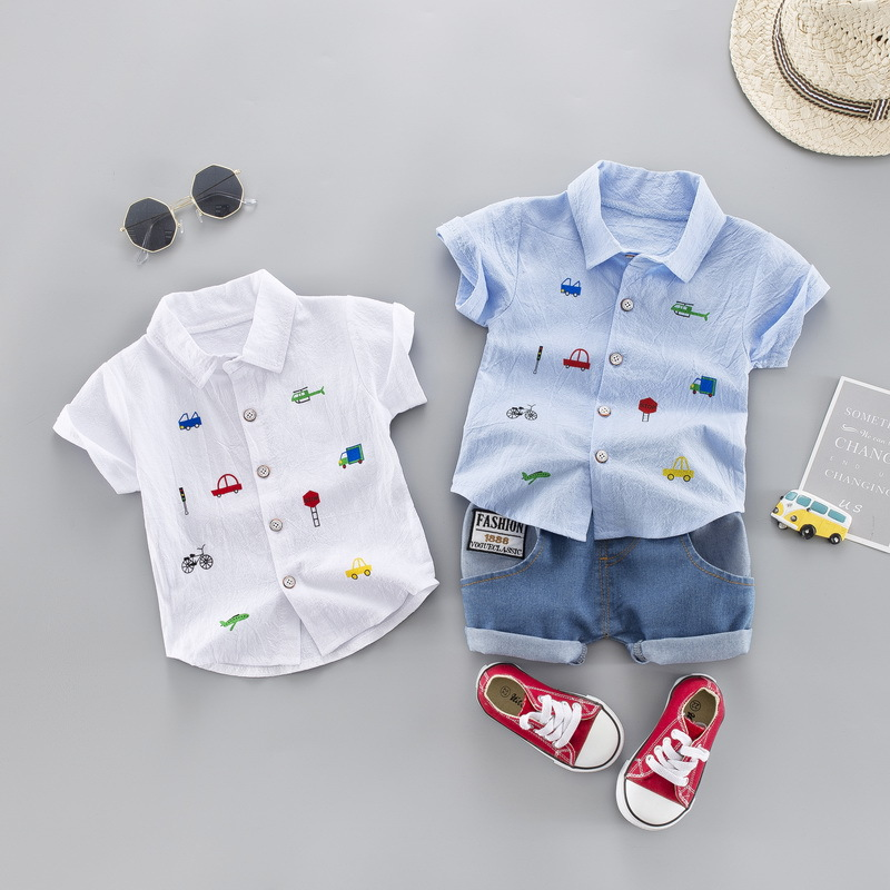 Summer Kids Toddler Boy Clothing Set Car Shirt Jeans 1 2 3 4 Years Short Sleeve Cotton Suit Children Clothes Boys Outfit 1