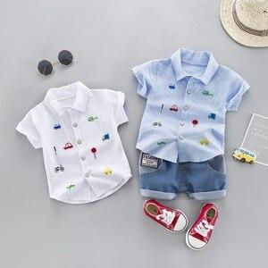 Image 1 - קיץ ילדים פעוט ילד בגדי סט רכב חולצה ג ינס 1 2 3 4 שנים קצר שרוול כותנה חליפת ילדי בגדים בני תלבושת