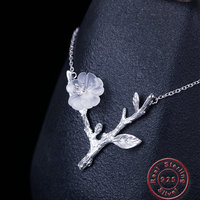Amxiu Natural Crystal 925 Sterling Silver Necklace Branch Flower Jewelry For Women Girl Vintage Accessories Valentine's Day Gift