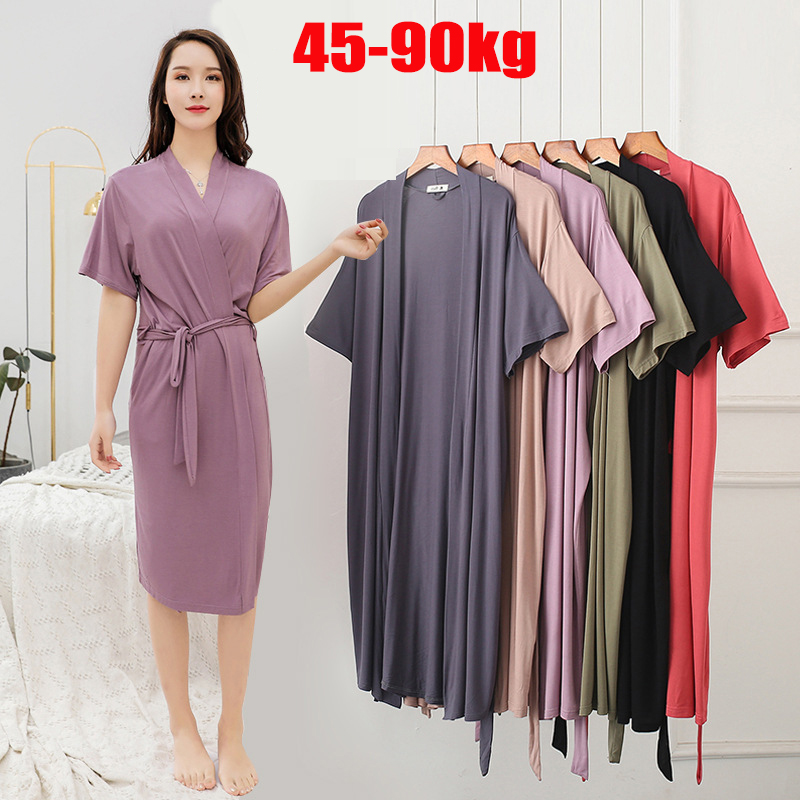 Plus Size Women New Nightgown Ladies Summer Ice Silk Modal Loose Pajamas Cotton Home Clothes Bathrobes Robes Women Sleepwear