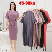 plus size women New nightgown ladies summer ice silk modal loose pajamas cotton home clothes bathrobes robes women sleepwear
