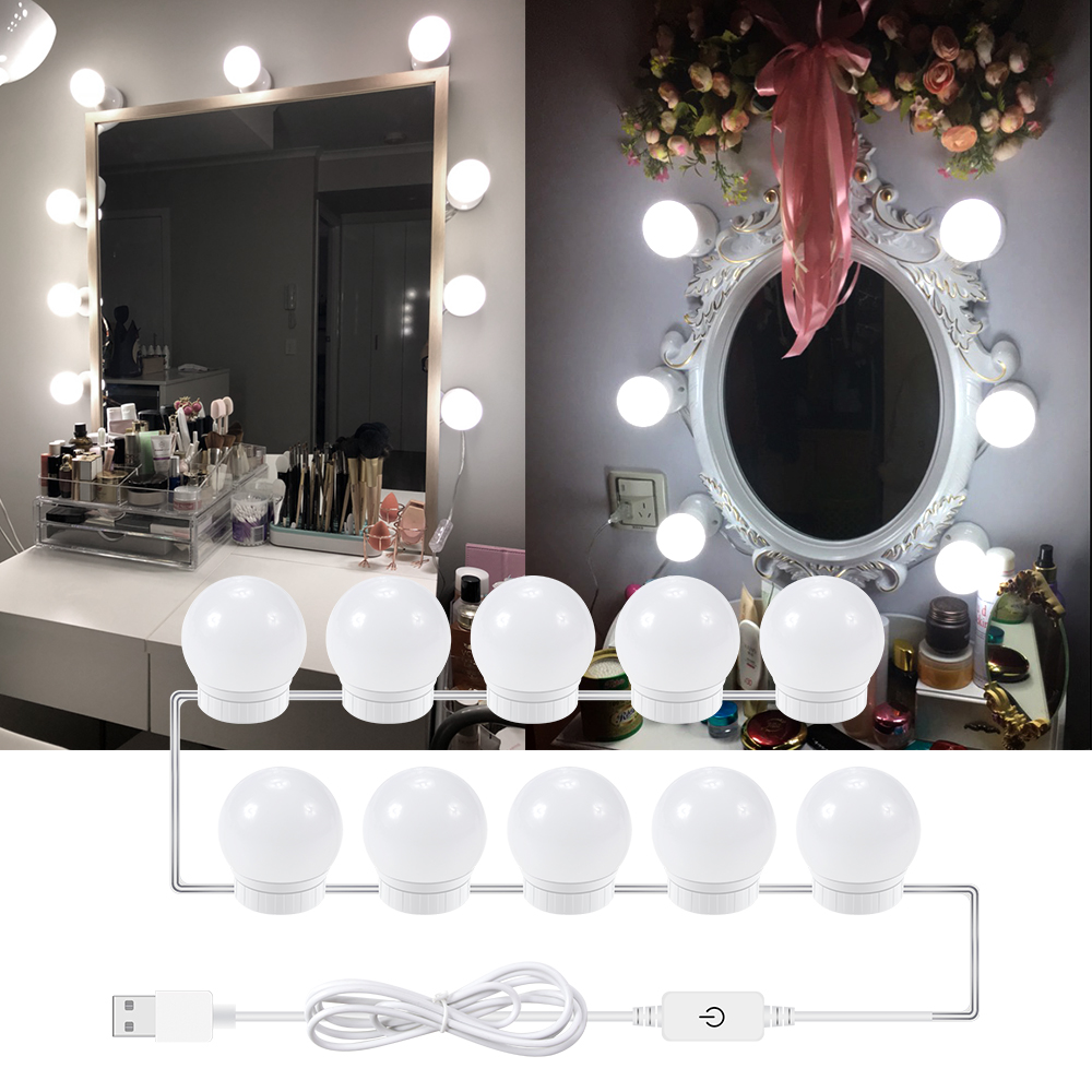 Led Lamps Fashion Style Dressing Table Make Up Light Bulb 85-265v Led Hollywood Vanity Makeup Backlit Mirror Lamp Stepless Dimmable 6 10 14pcs Wall Lamp Bright In Colour