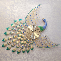 Luxurious Metal Elegant Peacock Clock Needle Quiet Wall Watch for Household Hall Decoration Crafts Big Wall Clocks Wedding Gifts