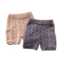 Kids Boys And Girls Shorts Knitted Cotton Pants Wool Jacquard Flower Pocket Classical Wild Pants Autumn