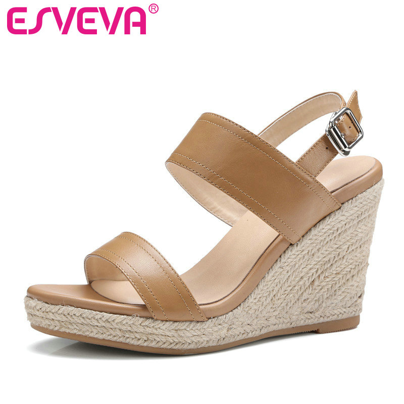 ESVEVA 2017 Women Pumps Platform Genuine Leather Wedding Women Shoes Round Toe  Summer Shoes Wedges High Heel Pumps  Size 34-39 nayiduyun women genuine leather wedge high heel pumps platform creepers round toe slip on casual shoes boots wedge sneakers