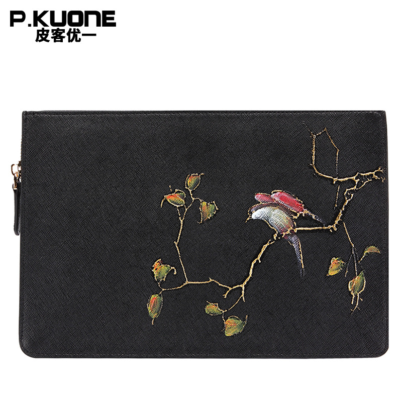 P.KUONE Brand Original Design butterfly and Bird Black And White Clutch Bags Women Handbag Wallet Lady 's Envelope Bag Wristlet trendy black and metal design women s clutch bag