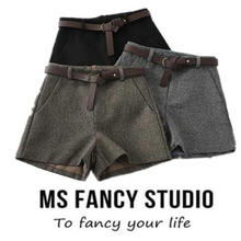 43ad179713 Invierno de las mujeres de cintura alta de lana pantalones cortos con  cinturón Formal elegante invierno