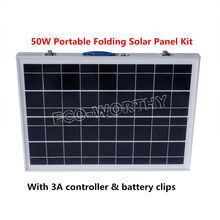 50W 18V Poly Folding Foldable Solar Panel  for  12v battery,  car, RV,camping,boat,free shipping