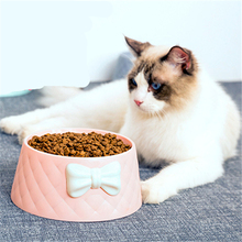 New High Quality Pet Feeders Bow Diamond Pattern Solid and Durable Food Grade Material Bowls for Small Dog Cat