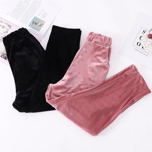 In Tempo reale di Velluto Oro Per Il Tempo Libero Pantaloni di Haren 2018 delle Nuove Donne di Autunno di Sport, Larghi Tute e Salopette, nove Pantaloni, Pantaloni E Trous