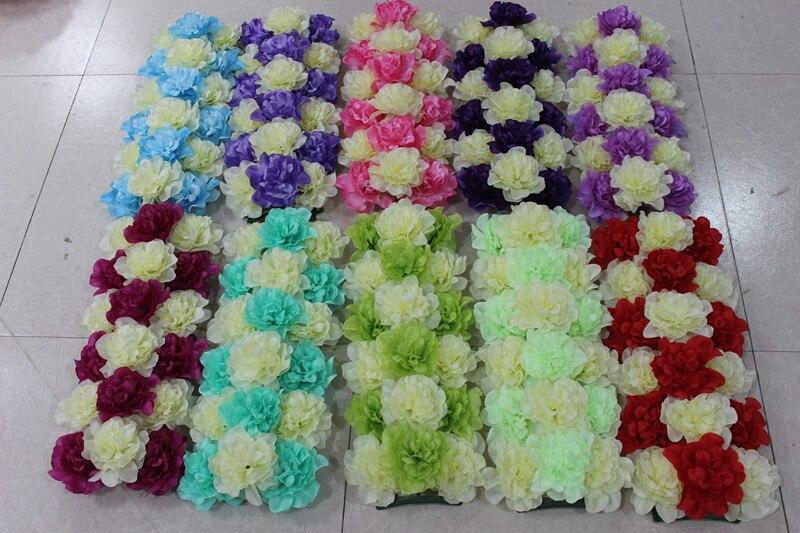 688 16 De Descuentonuevos Arreglos Florales De Hortensia Fila Seda Boda Flores Ruta Guía Esquinas Pabellón Flores Accesorios Fila Marco De