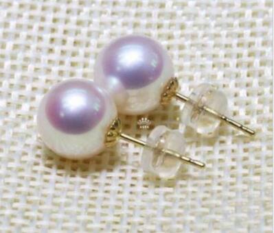 Livraison gratuite excellente 7 8 MM AAA + + + blanc AKOYA perle boucle d'oreille 14 - 2