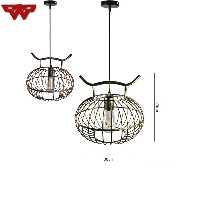 New Chinese chandelier iron bird cage lamp Nordic bar retro American bird cage restaurant chandelier creative lantern chandelier indoor lighting bird cage restaurant cafe bar desk study chandelier retro bird balcony chandelier
