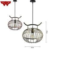 New Chinese chandelier iron bird cage lamp Nordic bar retro American bird cage restaurant chandelier creative lantern chandelier