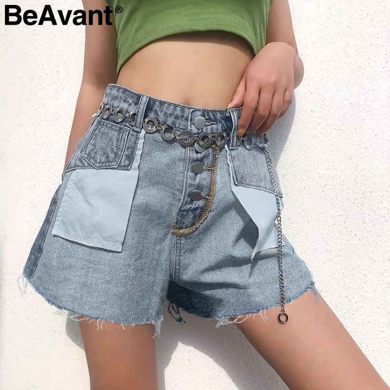 BeAvant Buttons pocket women denim shorts Casual streetwear patchwork female jeans shorts Loose tassel high waist ladies shorts(China)