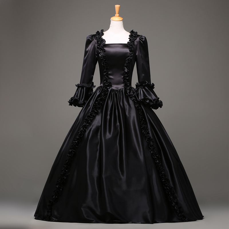 Free-Shipping Hot Sale Black Gothic Victorian Dress Period Renaissance Rococo Belle Prom Gowns Theatre Clothing Costume Dresses