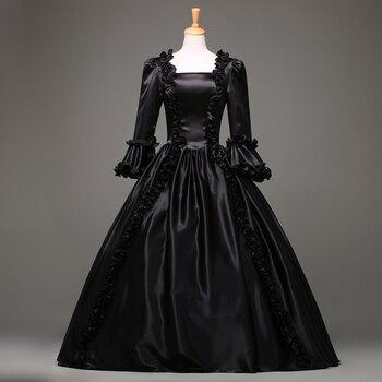 Envío gratuito Venta caliente negro gótico victoriano vestido período renacentista rococó Belle vestidos de graduación ropa de teatro VESTIDOS DE DISFRACES