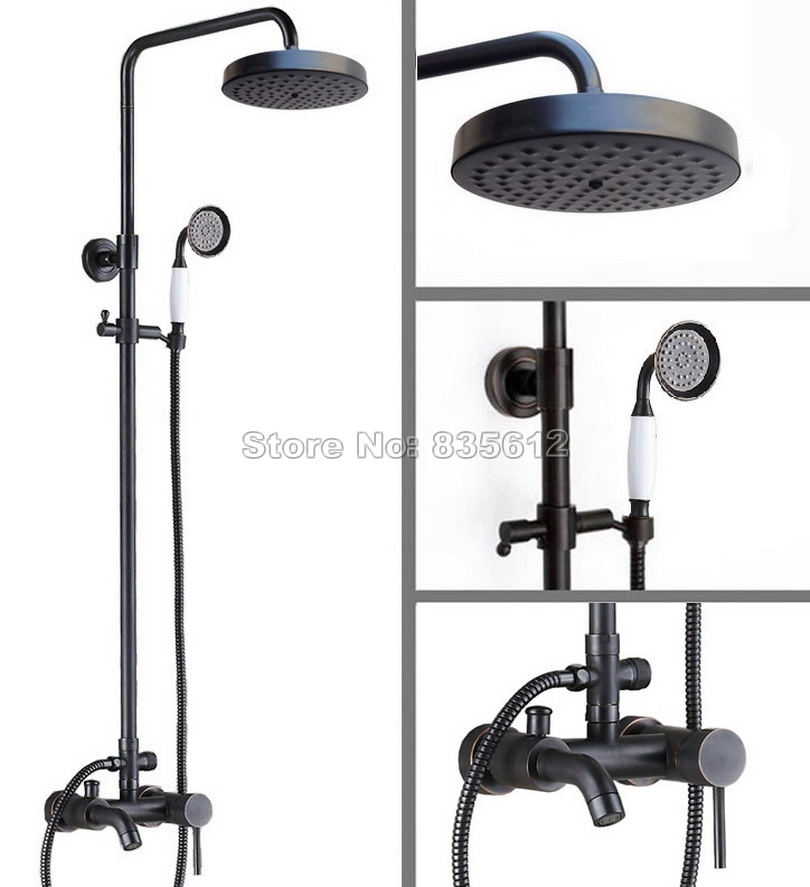 Black Oil Rubbed Bronze Bathroom Single Handle Bathtub Mixer Tap and Wall Mounted Rain Shower Faucet Set with Hand Spray Wrs326