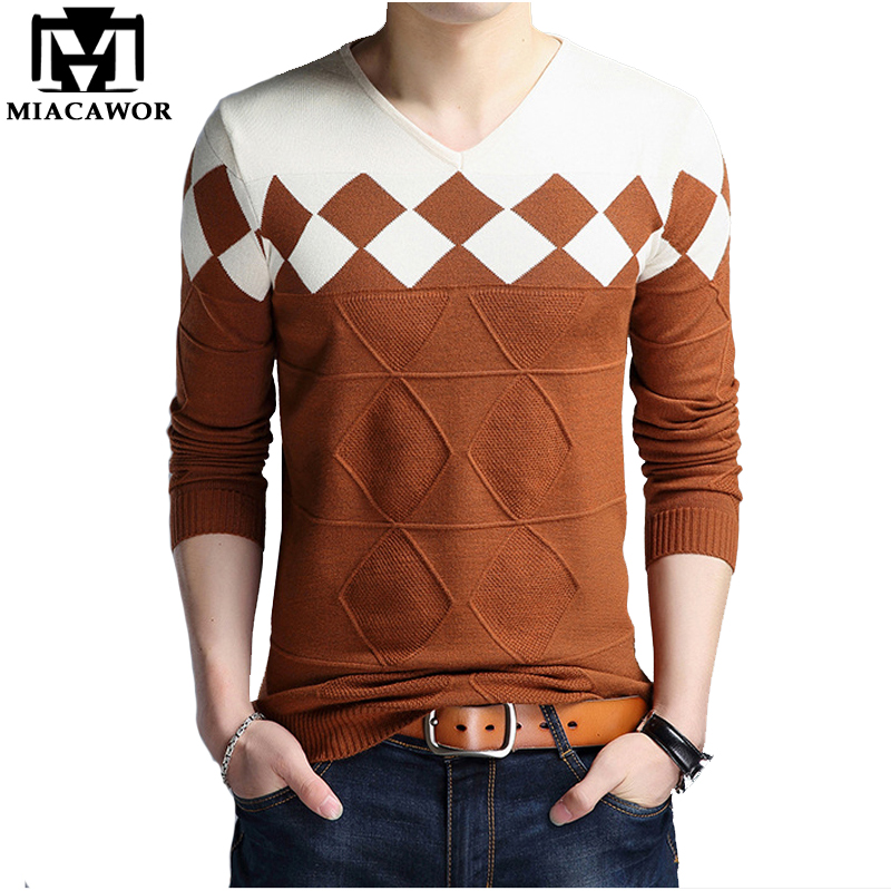 MIACAWOR 2019 New Casual Men Sweater Autumn V-Neck Pullover Men Slim Fit Patchwork Knitted Sweaters Y105
