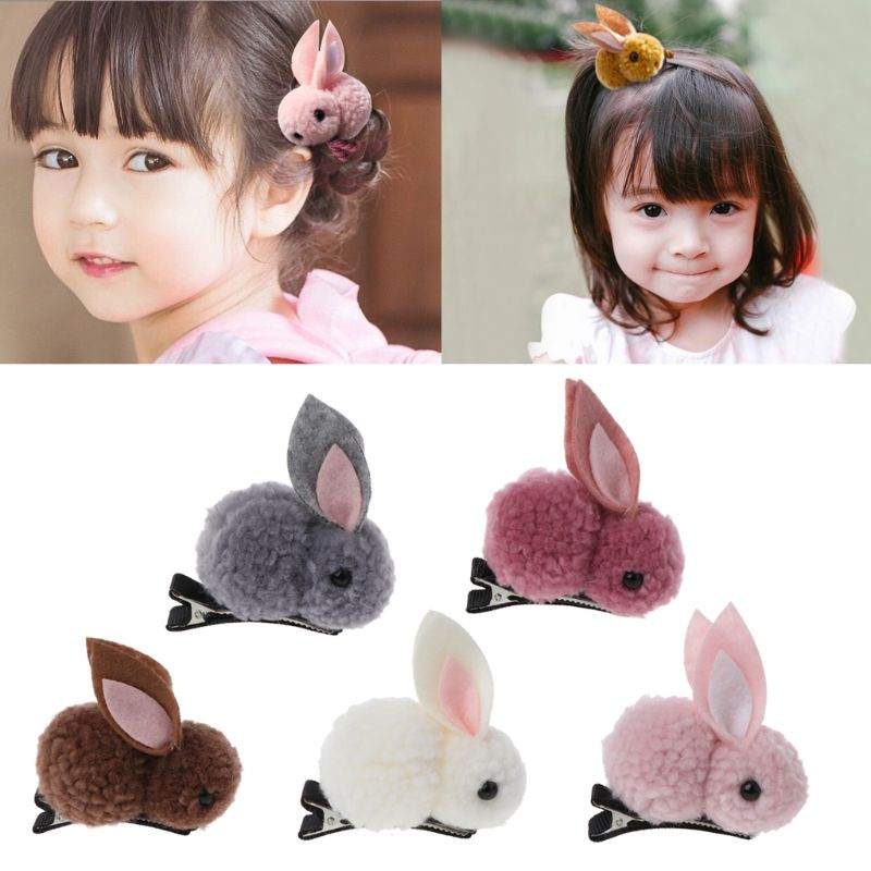 Cute Rabbit Style Hair Clips Felt Three-Dimensional Plush Rabbit Ears Hairpins For Children Girls Hair Accessories