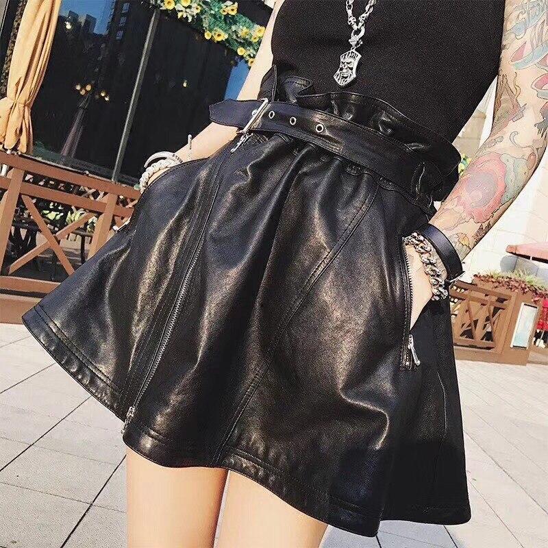 Short Skirt Sheepskin Genuine Leather 2018 Fashion Female Short Design A Real Slim Hip A-Line Skirt  Black