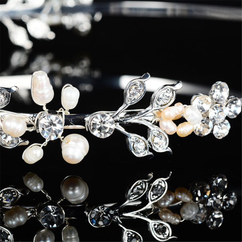 925 sterling silver cute pink flowers design tiara for women simulated pearl & Austrian crystal hair accessories wedding jewelry bridal crown HF042 (6)